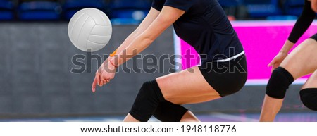 Volleyball game sport with group of girls indoor in sport arena. Professional sport concept