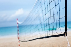 Volleyball net at the beach, sports concepts