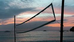Volleyball net on Diniwid Beach, Boracay, Philppines