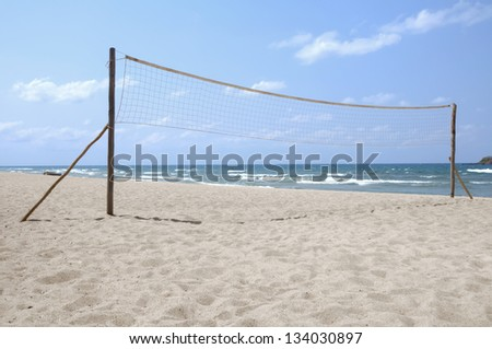 Volleyball net on empty Kande beach, Lake Malawi, Malawi, Africa