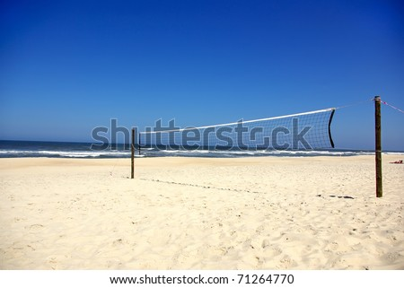 Volleyball nets in beach.