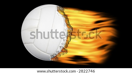 volleyball on fire on a black background