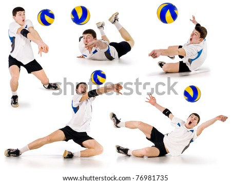 volleyball player beating on a ball in a jump on a white background.set of images.volleyball.athlete takes the ball