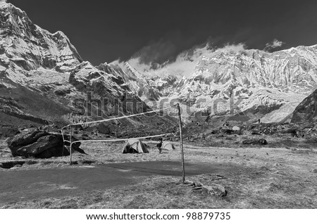 Volleyball playground near Annapurna base camp (black and white) - Nepal, Himalayas