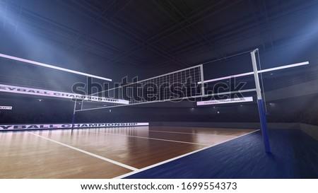 Photo of  Volleyball stadium. Render 3D. Illustration.