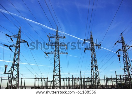 Voltage power lines - stock photo