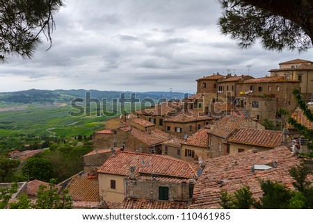 Volterra and view over Val d'Orcia, Tuscany, Italy