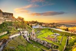 Volterra, roman theatre ruins at sunset. 1st century bce, Tuscany, Italy, Europe.