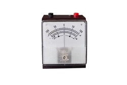 Voltmeter and ammeter for measuring voltage and electric current, isolated on white background. Scientific equipment.