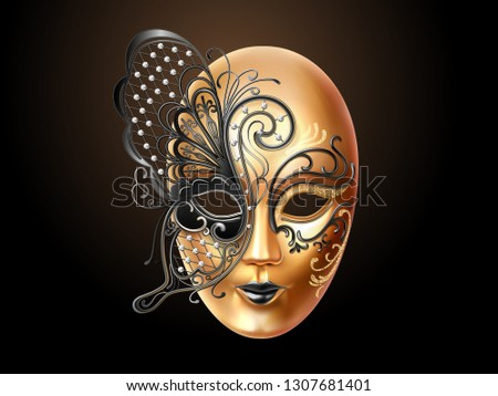 Volto mask decorated with diamonds and butterfly lace. Face cover design for party or carnival, masquerade and holiday celebration. Man and woman masque. Italian or venetian mardi gras theme