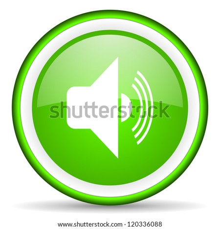 volume green glossy icon on white background