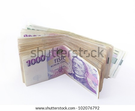 volume of czech banknotes nominal value one thousand crowns on white background