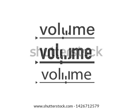 Volume set. Volume logo. Text volume on white background