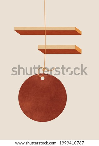 Volume shapes with wood texture and brown circle hanging from a wire. Abstract pendulum in flat design with 3d forms. Representation of still time. Stock photo ©
