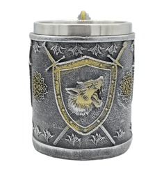 Volumetric beer mug with a wolf on a shield and swords.