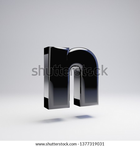 Volumetric glossy black lowercase letter N isolated on white background. 3D rendered alphabet. Modern font for banner, poster, cover, logo design template element.