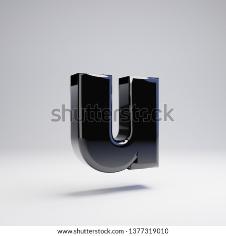 Volumetric glossy black lowercase letter U isolated on white background. 3D rendered alphabet. Modern font for banner, poster, cover, logo design template element.