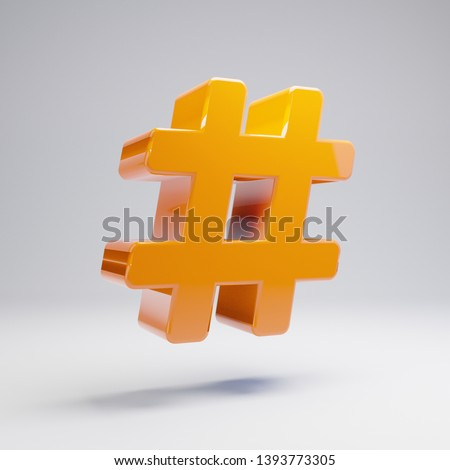 Volumetric glossy hot orange Hashtag icon isolated on white background. 3D rendered digital symbol. Modern icon for website, internet marketing, presentation, logo design template element.