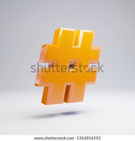 Volumetric glossy hot orange hashtag symbol isolated on white background. 3D rendered alphabet. Modern font for banner, poster, cover, logo design template element.