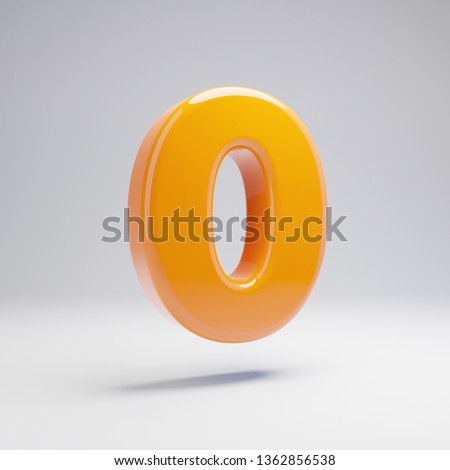 Volumetric glossy hot orange number 0 isolated on white background. 3D rendered alphabet. Modern font for banner, poster, cover, logo design template element.