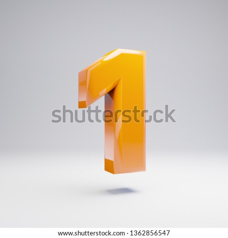 Volumetric glossy hot orange number 1 isolated on white background. 3D rendered alphabet. Modern font for banner, poster, cover, logo design template element.