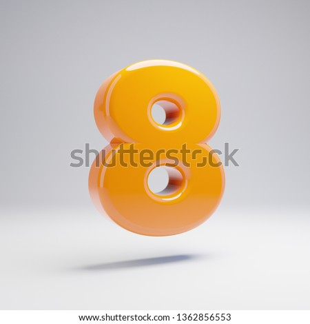 Volumetric glossy hot orange number 8 isolated on white background. 3D rendered alphabet. Modern font for banner, poster, cover, logo design template element.