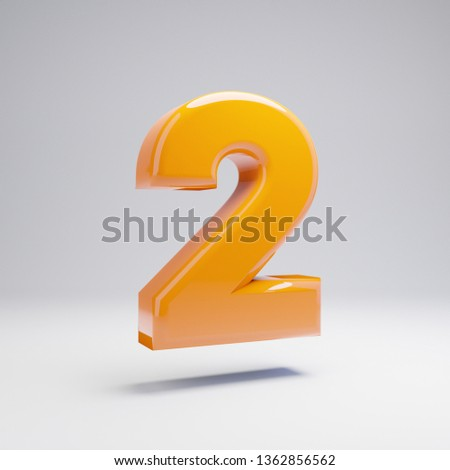 Volumetric glossy hot orange number 2 isolated on white background. 3D rendered alphabet. Modern font for banner, poster, cover, logo design template element.