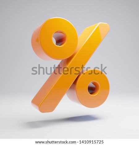 Volumetric glossy hot orange Percent icon isolated on white background. 3D rendered digital symbol. Modern icon for website, internet marketing, presentation, logo design template element.
