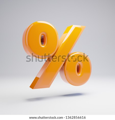 Volumetric glossy hot orange percent symbol isolated on white background. 3D rendered alphabet. Modern font for banner, poster, cover, logo design template element.