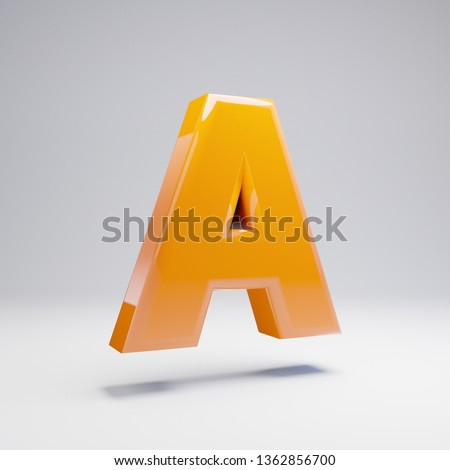 Volumetric glossy hot orange uppercase letter A isolated on white background. 3D rendered alphabet. Modern font for banner, poster, cover, logo design template element.