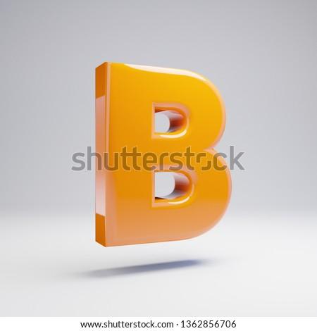 Volumetric glossy hot orange uppercase letter B isolated on white background. 3D rendered alphabet. Modern font for banner, poster, cover, logo design template element.