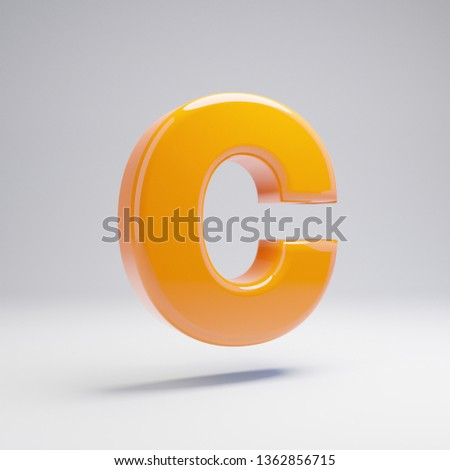 Volumetric glossy hot orange uppercase letter C isolated on white background. 3D rendered alphabet. Modern font for banner, poster, cover, logo design template element.