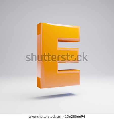 Volumetric glossy hot orange uppercase letter E isolated on white background. 3D rendered alphabet. Modern font for banner, poster, cover, logo design template element.
