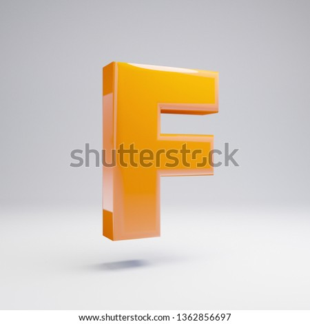 Volumetric glossy hot orange uppercase letter F isolated on white background. 3D rendered alphabet. Modern font for banner, poster, cover, logo design template element.