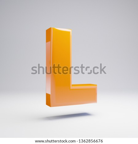 Volumetric glossy hot orange uppercase letter L isolated on white background. 3D rendered alphabet. Modern font for banner, poster, cover, logo design template element.