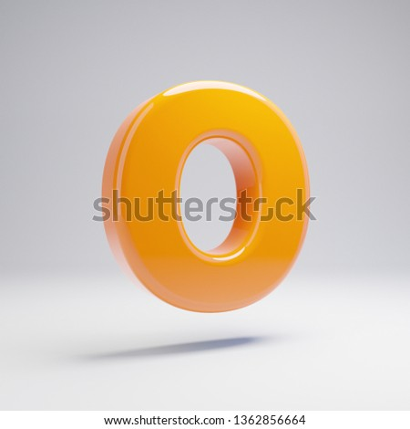 Volumetric glossy hot orange uppercase letter O isolated on white background. 3D rendered alphabet. Modern font for banner, poster, cover, logo design template element.