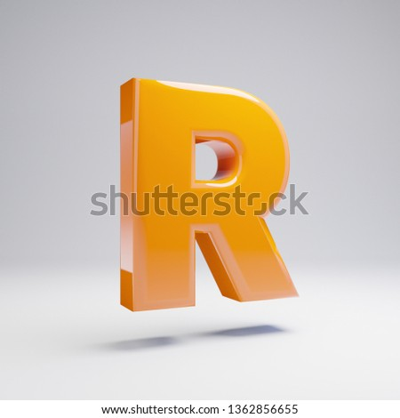 Volumetric glossy hot orange uppercase letter R isolated on white background. 3D rendered alphabet. Modern font for banner, poster, cover, logo design template element.