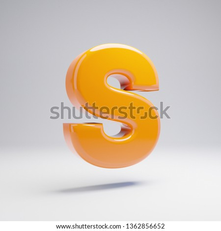 Volumetric glossy hot orange uppercase letter S isolated on white background. 3D rendered alphabet. Modern font for banner, poster, cover, logo design template element.