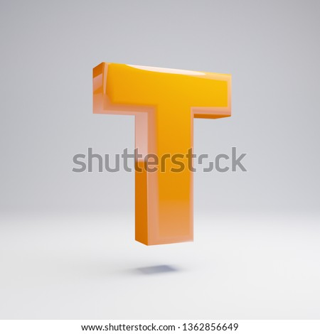 Volumetric glossy hot orange uppercase letter T isolated on white background. 3D rendered alphabet. Modern font for banner, poster, cover, logo design template element.