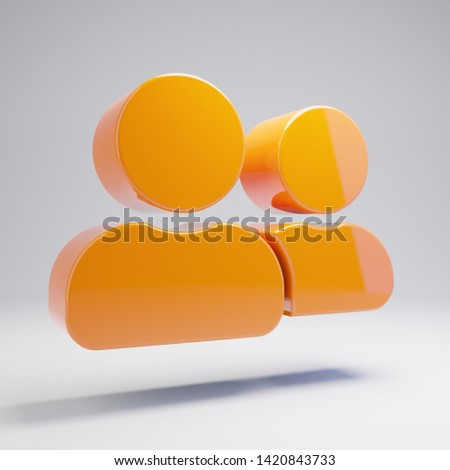 Volumetric glossy hot orange user friends icon isolated on white background. 3D rendered digital symbol. Modern icon for website, internet marketing, presentation, logo design template element.