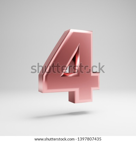 Volumetric glossy Rose Gold number 4 isolated on white background. 3D rendered alphabet. Metallic font for banner, poster, cover, logo design template element.