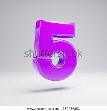 Volumetric glossy violet number 5 isolated on white background. 3D rendered alphabet. Modern font for banner, poster, cover, logo design template element.