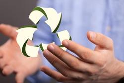 volumetric green recycling sign 3d digital