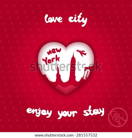 Volumetric heart with painted city landmarks of New York #281557532