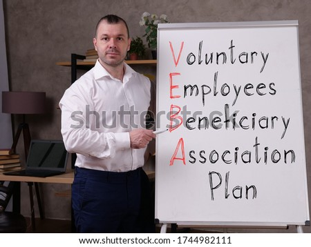 Voluntary Employees Beneficiary Association Plan VEBA  is shown on the photo Stok fotoğraf ©
