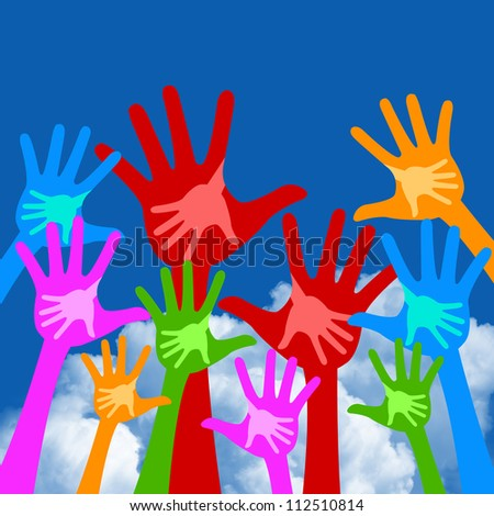Volunteer and Voting Concept Present By Colorful Adult Raised Hands With Children Hand Inside Isolate on White Background