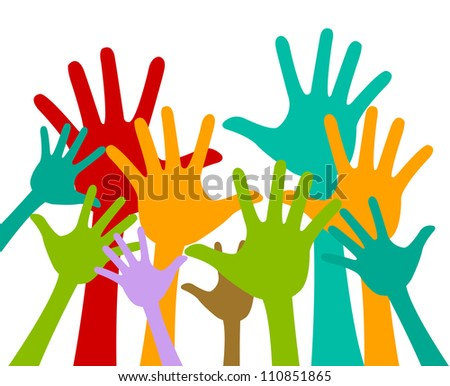 Volunteer and Voting Concept Present With Colorful Raised Hands Isolated On White Background