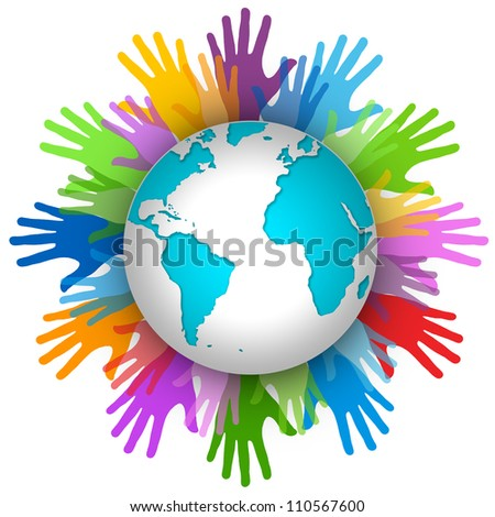 Volunteer Concept, Many Colorful Hand Around The World Isolated on White Background