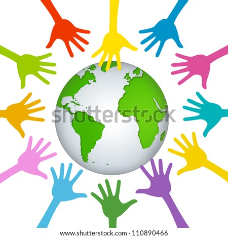 Volunteer Concept Present With Many Hand Around The Green Earth Isolated on White Background