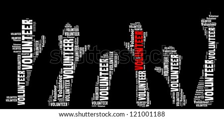 Volunteer info-text graphics and arrangement concept on black background (word cloud) - stock photo